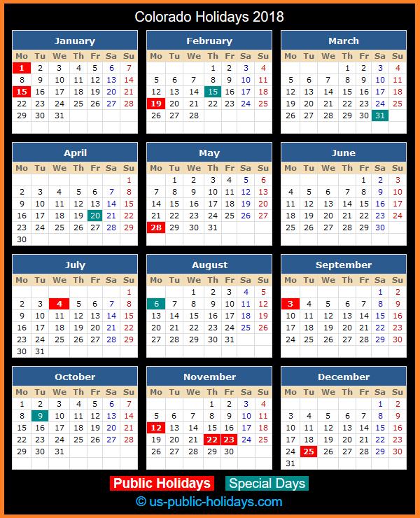 Colorado Holiday Calendar 2018