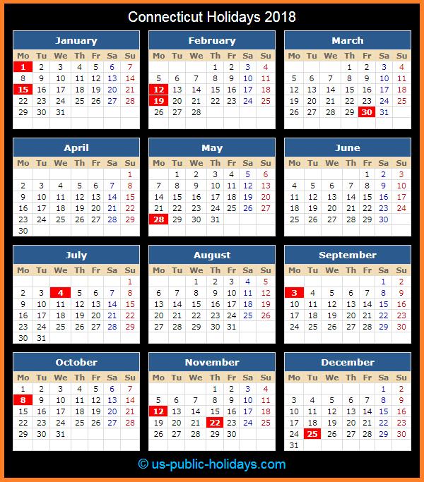 Connecticut Holiday Calendar 2018