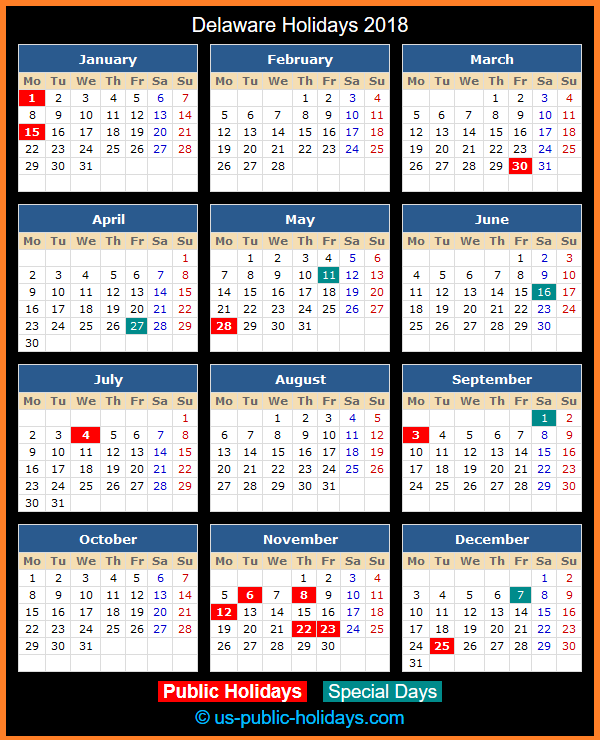 Delaware Holiday Calendar 2018