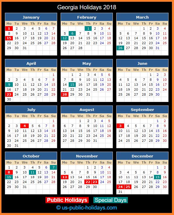 Georgia Holiday Calendar 2018