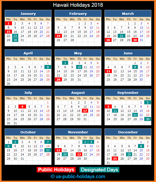Hawaii Holiday Calendar 2018