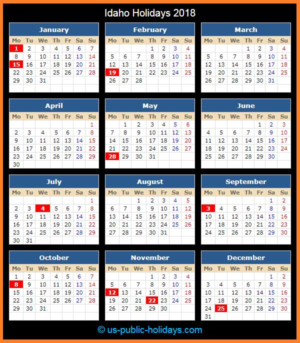 Idaho Holiday Calendar 2018
