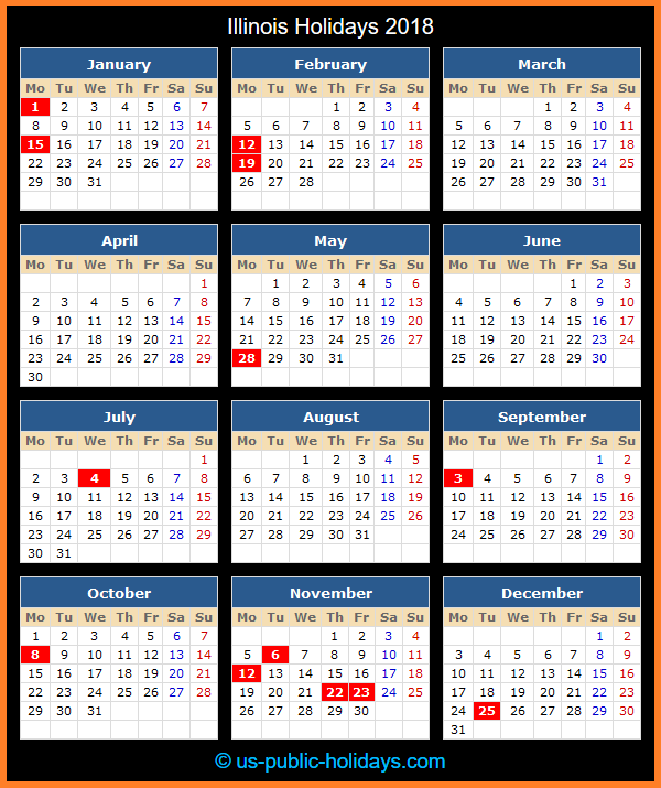 Illinois Holiday Calendar 2018