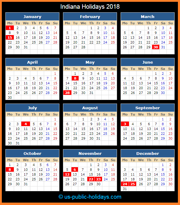 Indiana Holiday Calendar 2018