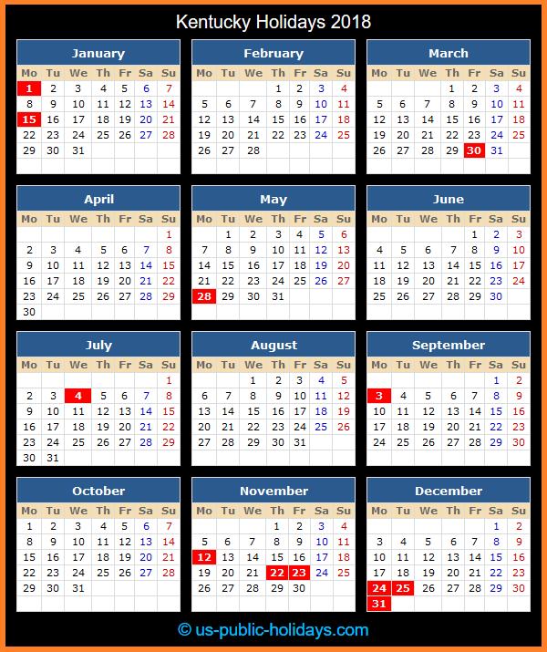 Kentucky Holiday Calendar 2018