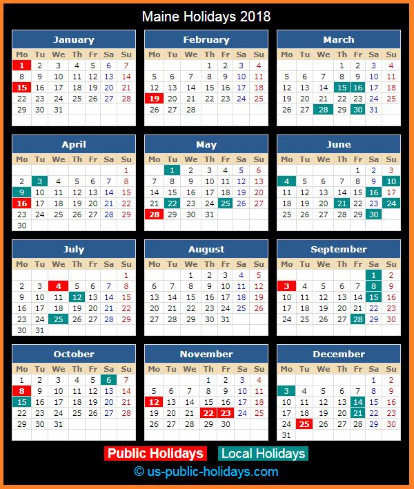 Maine Holiday Calendar 2018