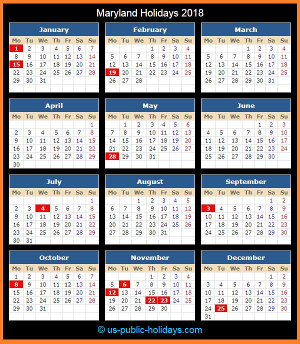 Maryland Holiday Calendar 2018
