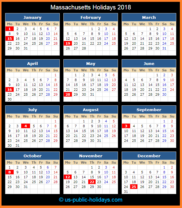 Massachusetts Holiday Calendar 2018
