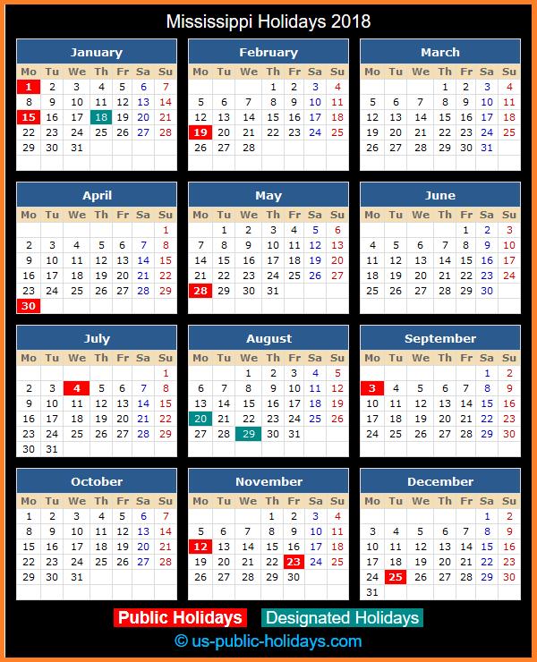 Mississippi Holiday Calendar 2018