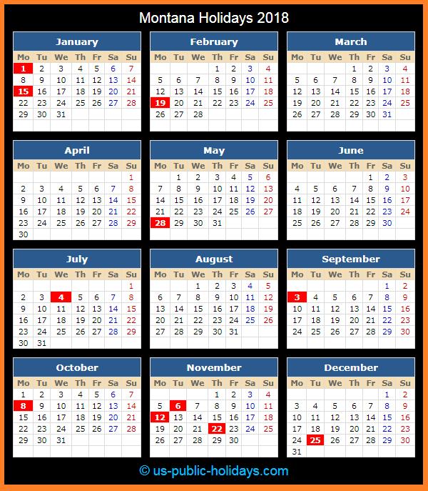 Montana Holiday Calendar 2018