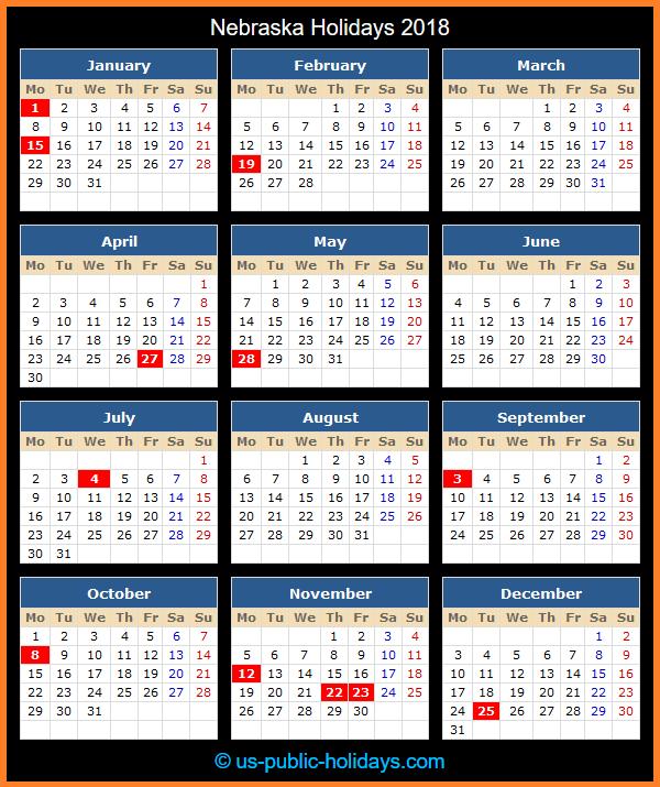 Nebraska Holiday Calendar 2018