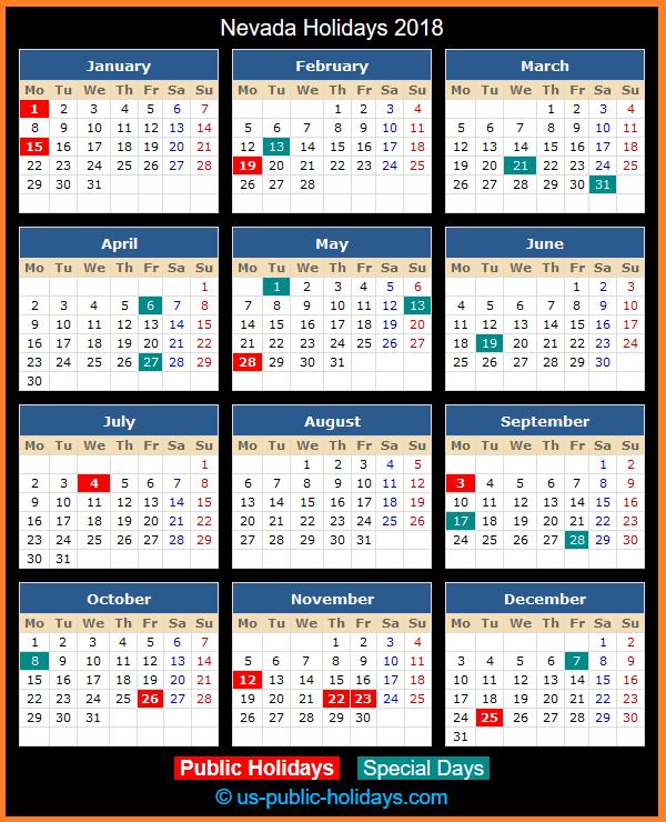 Nevada Holiday Calendar 2018