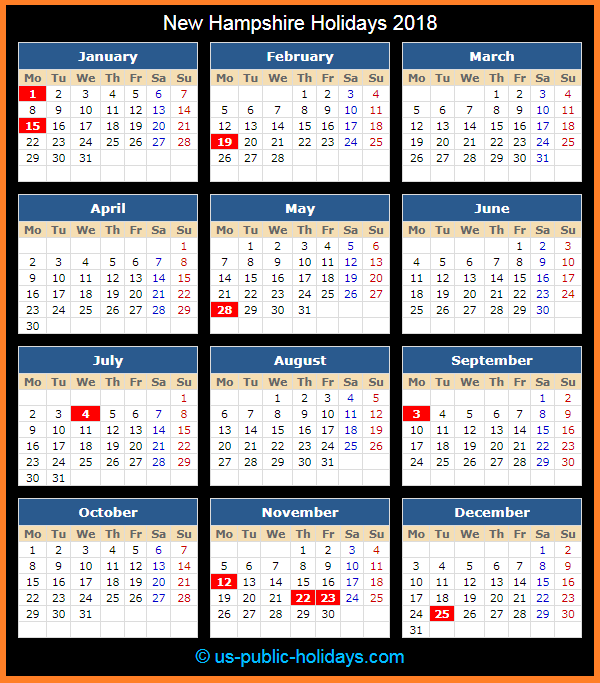 New Hampshire Holiday Calendar 2018
