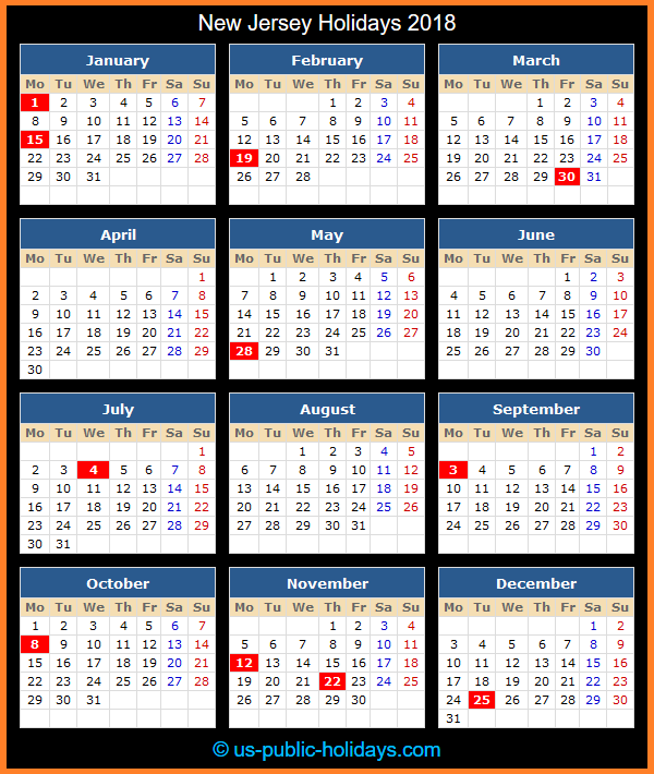 New Jersey Holiday Calendar 2018