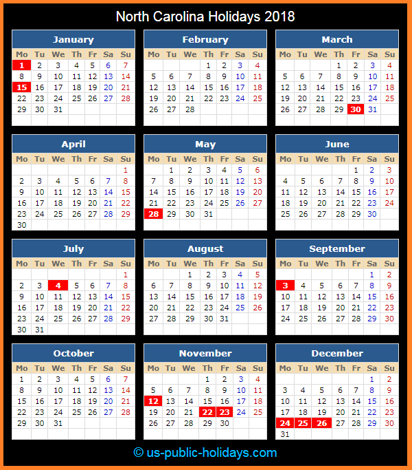 North Carolina Holiday Calendar 2018