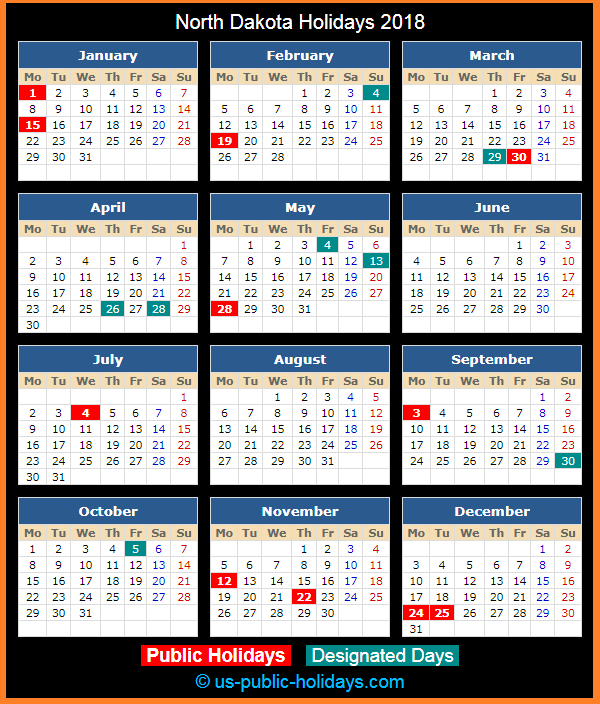 North Dakota Holiday Calendar 2018