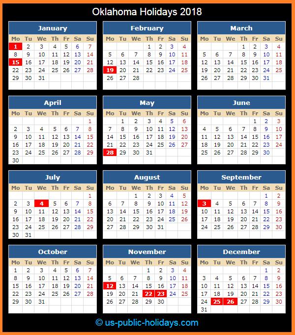 Oklahoma Holiday Calendar 2018