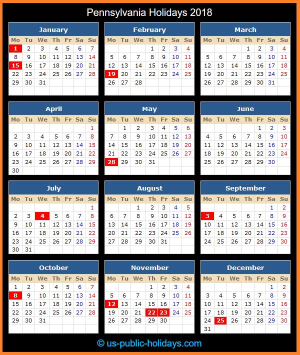 Pennsylvania Holiday Calendar 2018