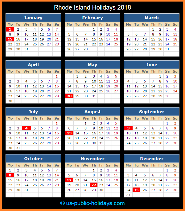 Rhode Island Holiday Calendar 2018