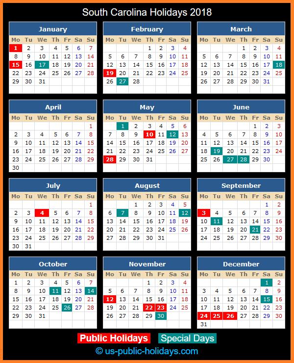 South Carolina Holiday Calendar 2018