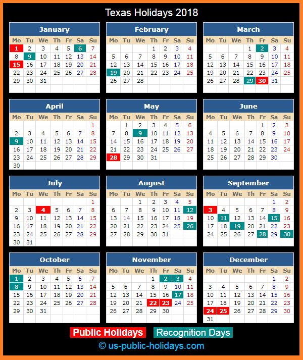 Texas Holiday Calendar 2018