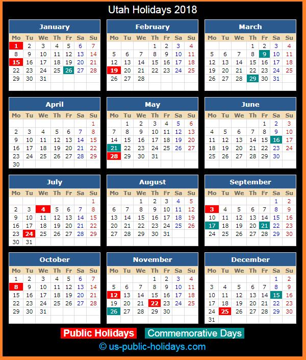 Utah Holiday Calendar 2018