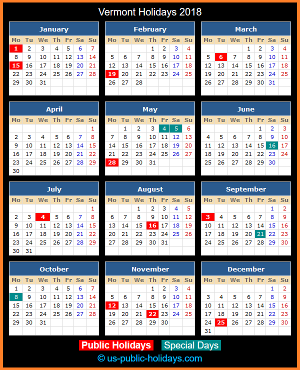 Vermont Holiday Calendar 2018