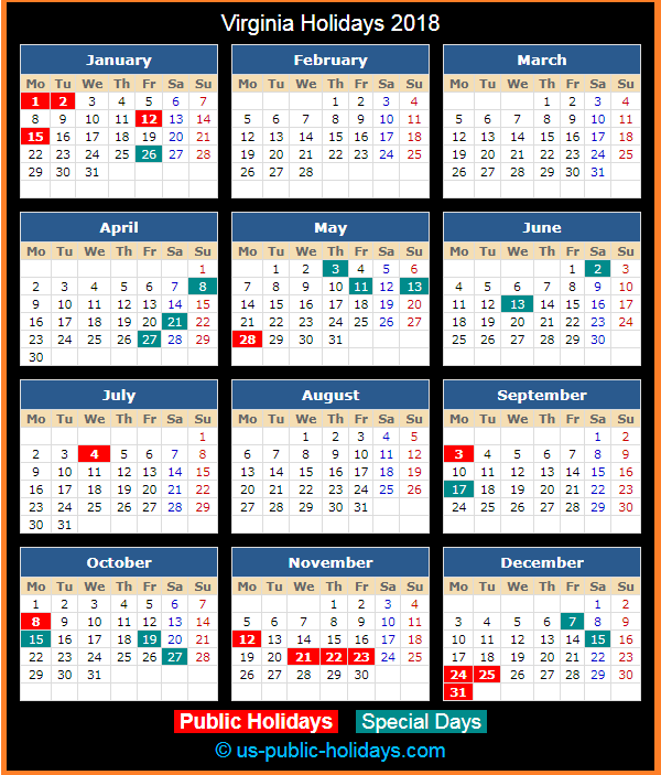 Virginia Holiday Calendar 2018