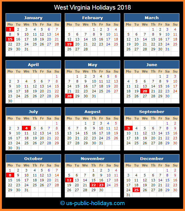 West Virginia Holiday Calendar 2018