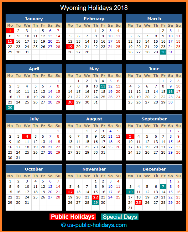 Wyoming Holiday Calendar 2018