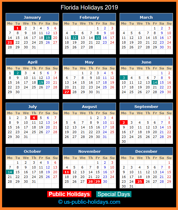 Florida Holiday Calendar 2019