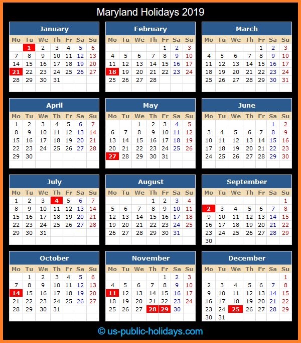 Maryland Holiday Calendar 2019