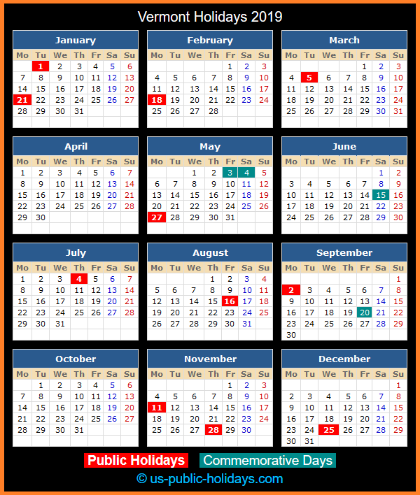 Vermont Holiday Calendar 2019