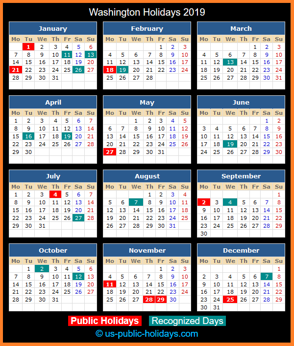 Washington Holiday Calendar 2019