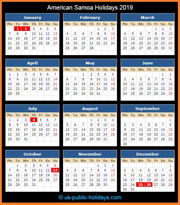 American Samoa Holiday Calendar 2019