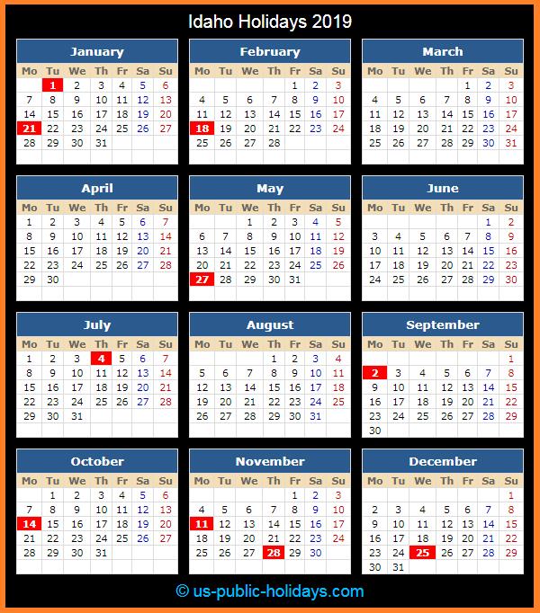 Idaho Holiday Calendar 2019