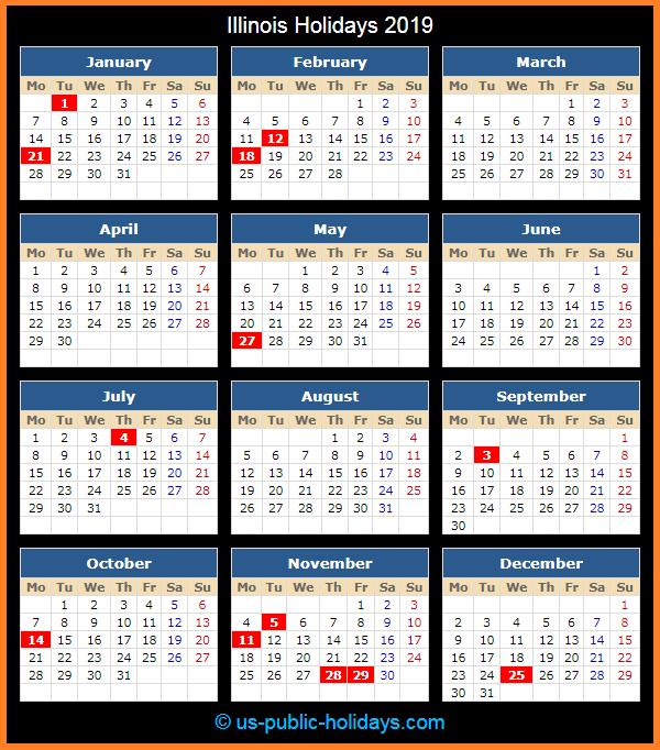 Illinois Holiday Calendar 2019
