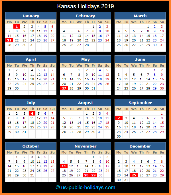Kansas Holiday Calendar 2019