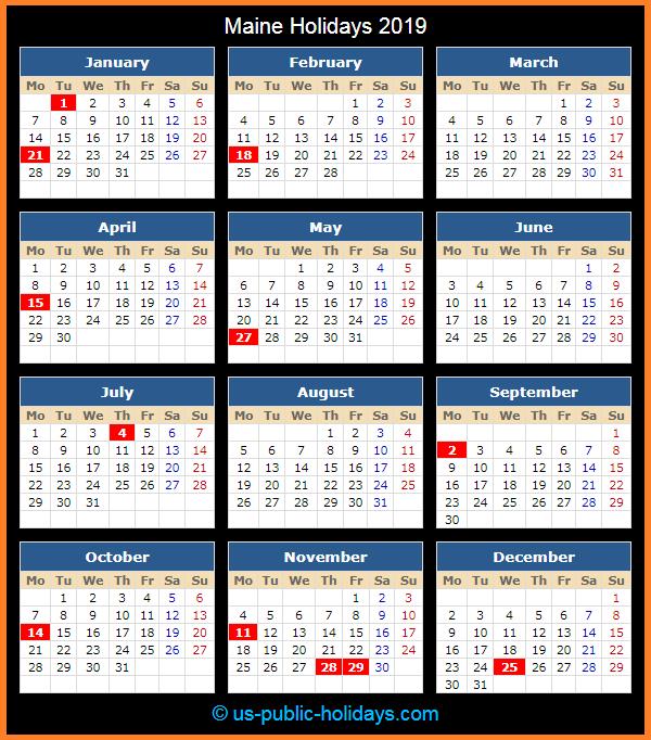 Maine Holiday Calendar 2019