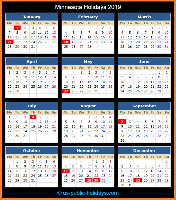 Minnesota Holiday Calendar 2019
