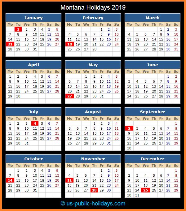Montana Holiday Calendar 2019