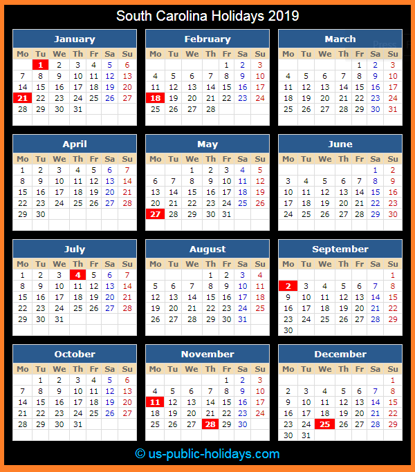 South Carolina Holiday Calendar 2019