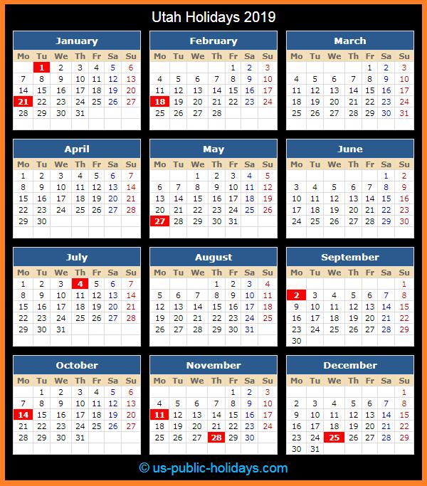 Utah Holiday Calendar 2019