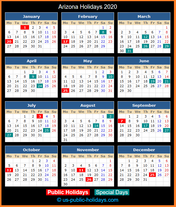 Arizona Holiday Calendar 2020