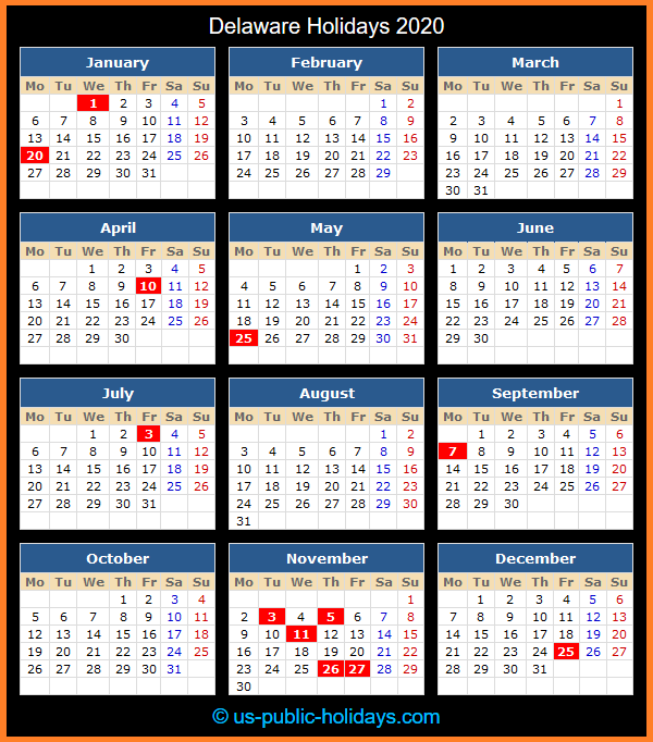 Delaware Holiday Calendar 2020