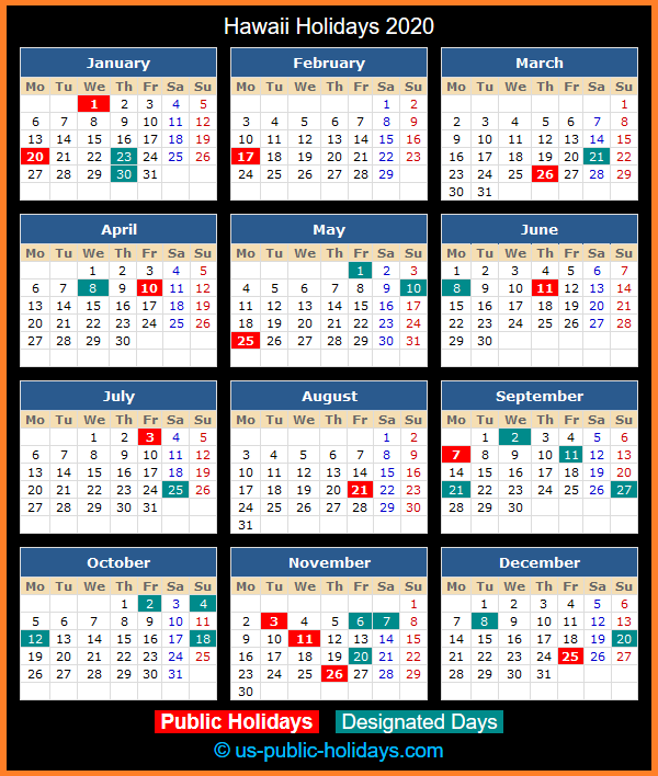 Hawaii Holiday Calendar 2020
