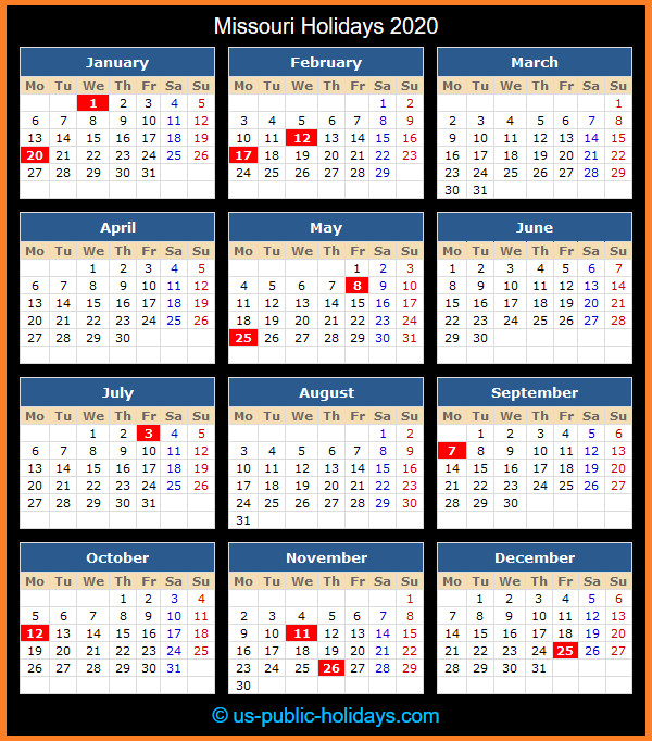 Missouri Holiday Calendar 2020