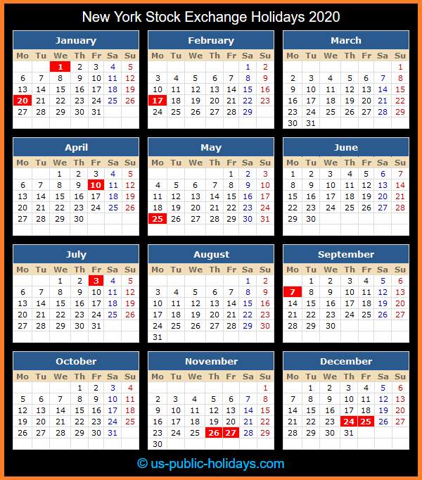 New York Stock Exchange Holiday Calendar 2020