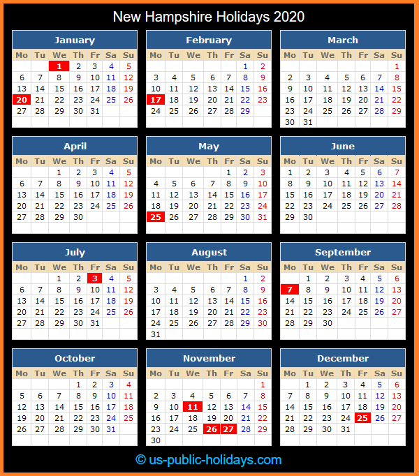 New Hampshire Holiday Calendar 2020