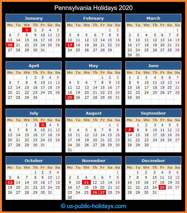 Pennsylvania Holiday Calendar 2020